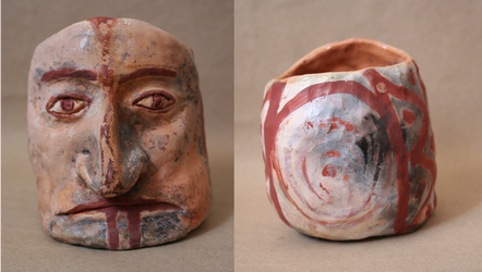 Pre-Colombian inspired face vessel