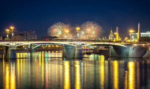 Fireworks over a bridge in Moscow, Russia
