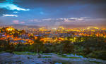 City view from the Areopagus hill in Athens, Greec
