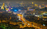Aerial view of the city of Moscow at night