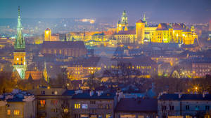 Krakow city skyline with the Wawel Royal Castle in