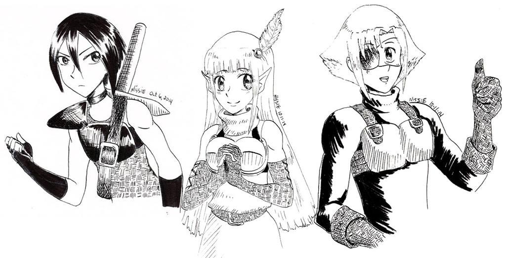 Dragon Princess Inktober 2014 Trio by ninjapink