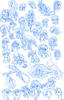 Pony sketch page- deathclaw edition by SorcerusHorserus