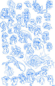 Pony sketch page- deathclaw edition