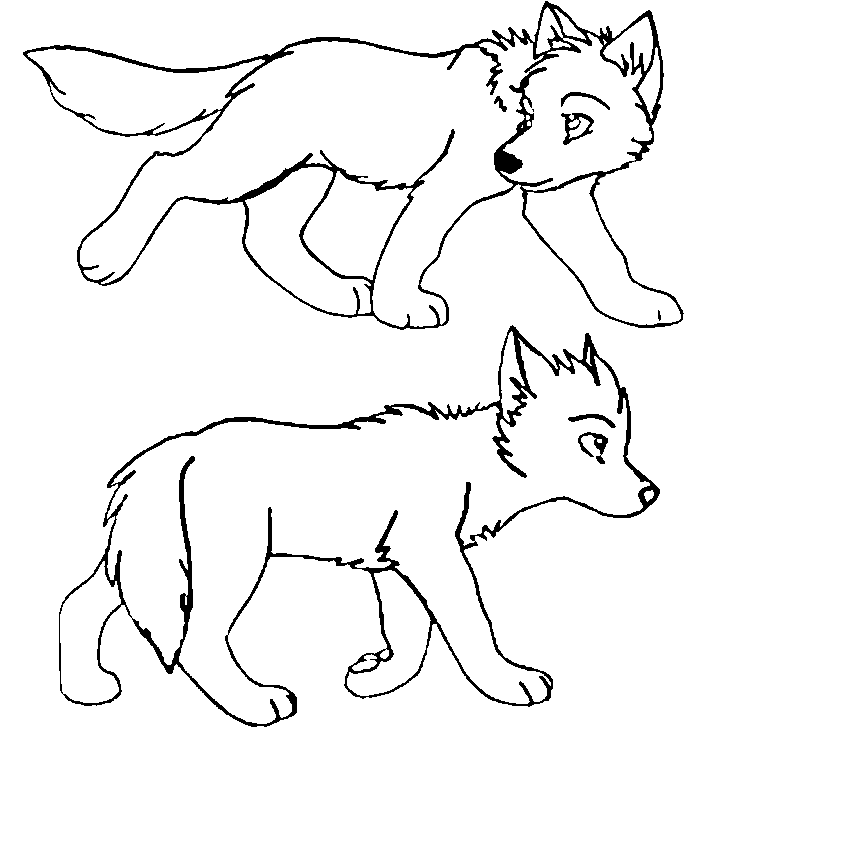 Wolf Pup Lineart V2 by The1andonlyRaven