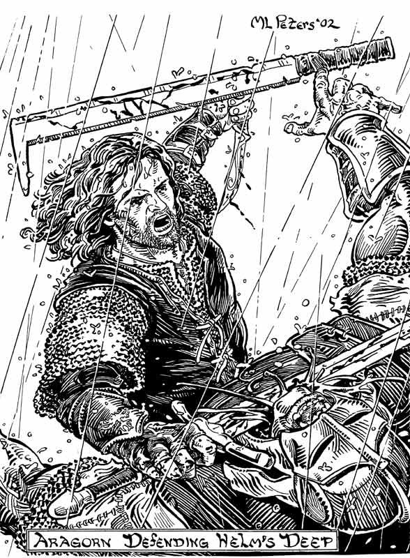 lord of the rings coloring page - aragorn at helm 39 s deep by mlpeters on deviantart