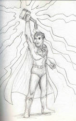 Superman with Thor's hammer pencils by Felipe400