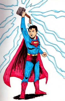 Superman with Thor's hammer color markers by Felipe400