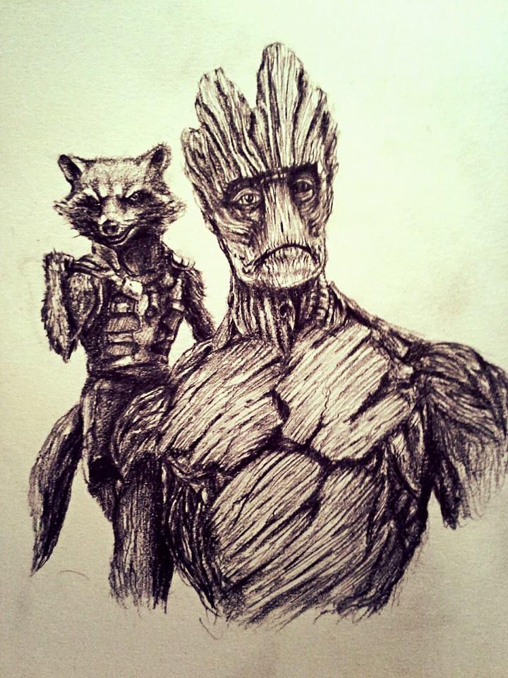 Rocket Raccoon and Groot by jpizzle6298