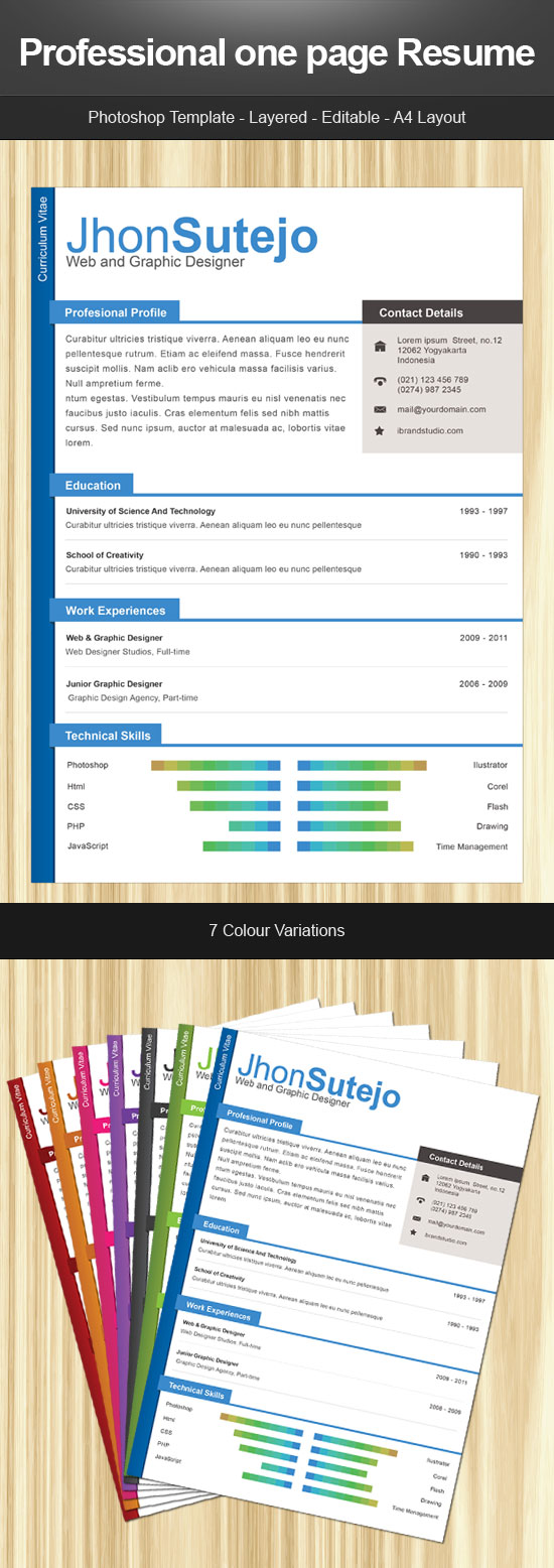 freebie: one page resume by yahya12