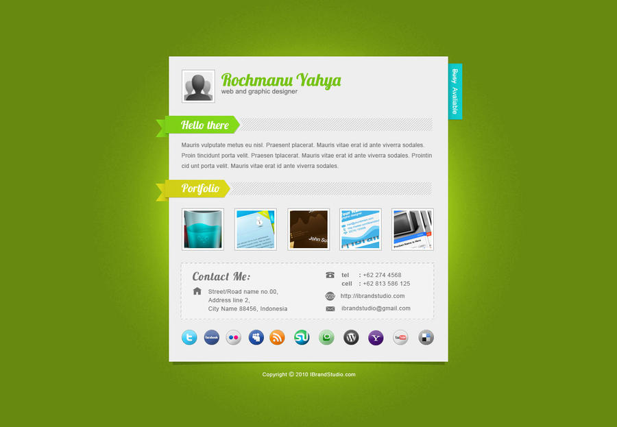 freebie: one page vCard by yahya12