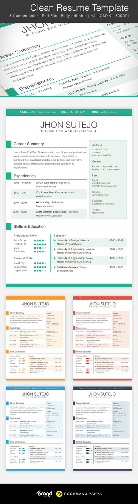 Clean One Page Resume Template by yahya12
