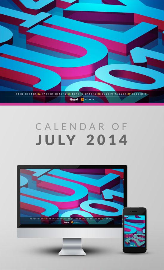 Freebie: Wallpaper Calendar of July 2014 by yahya12
