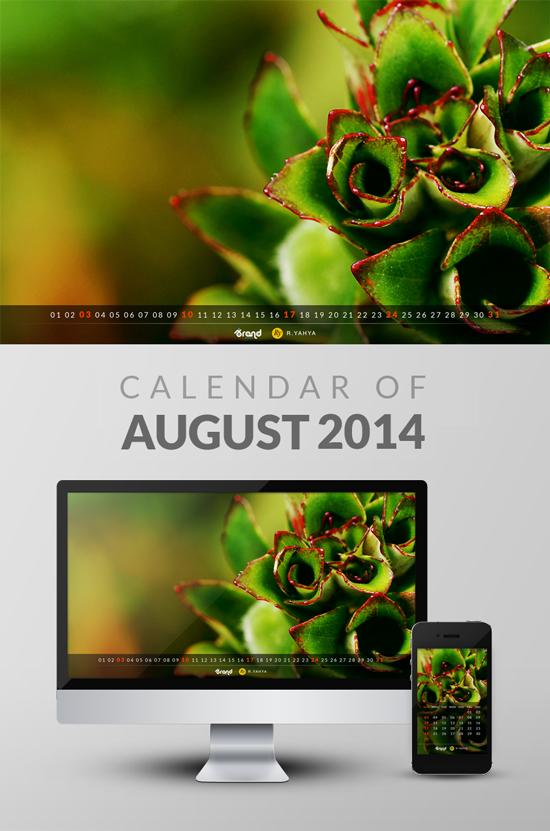 Freebie: Wallpaper Calendar of August 2014 by yahya12