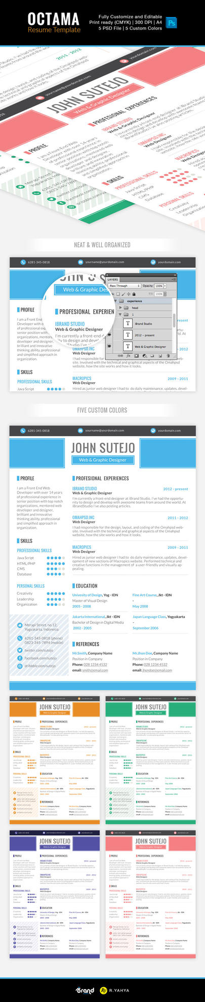 Freebie: Octama Resume Template by yahya12