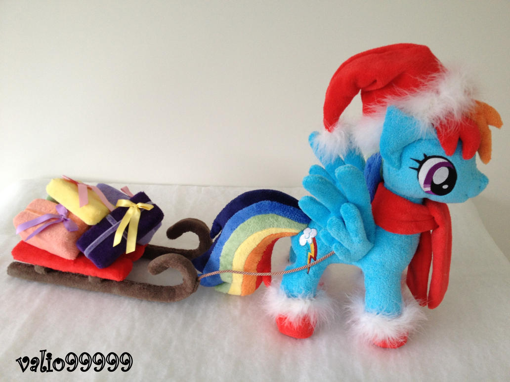 Christmas time handmade Rainbow Dash plush by valio99999