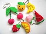 fruits plush keychains