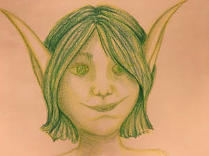 Dryad/Sylph/Fae in Green Crayons