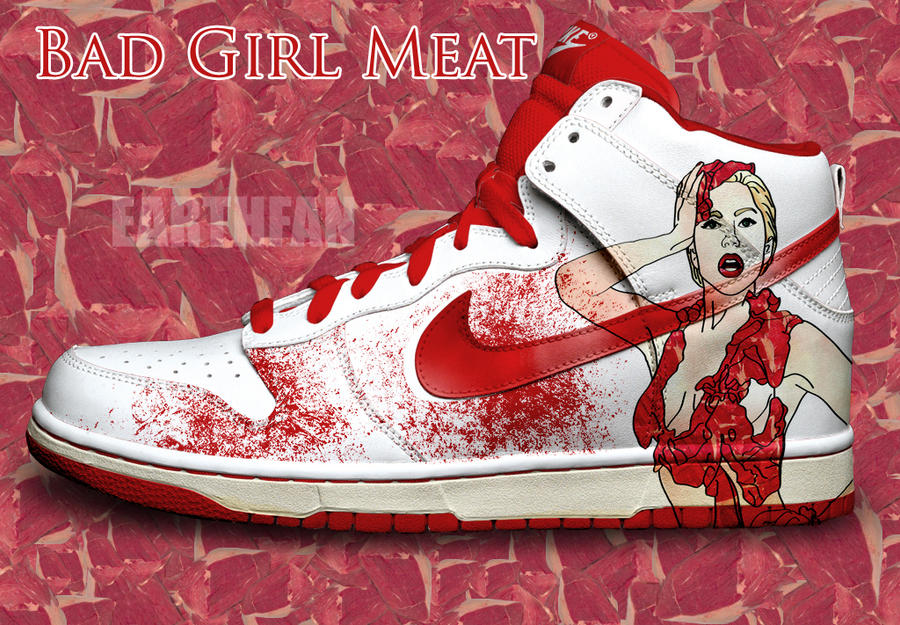 lady gaga meat dress photos. Lady gaga Meat Dress Nike Dunk