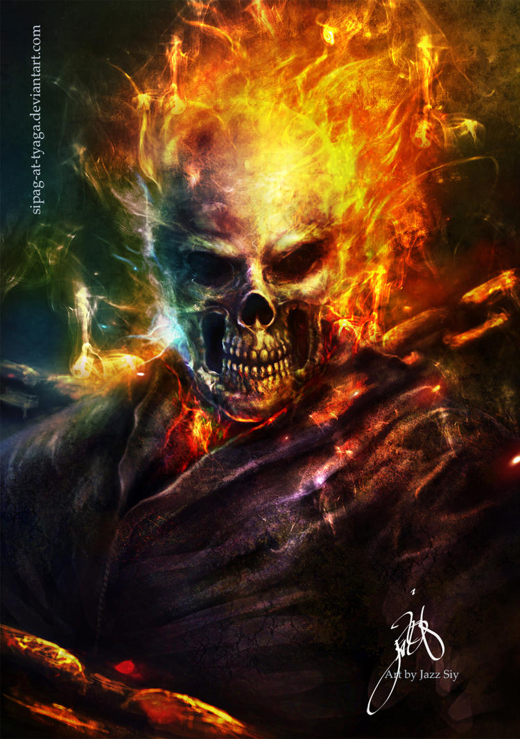 ghostrider commission by artist Tom kelly by TomKellyART ...  |Ghost Rider Digital Painting Photoshop