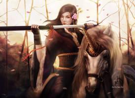 L5R: Utaku Sayaka, the Unicorn Battle Maiden by JazzSiyArt