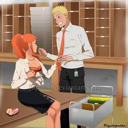 NaruSasame: Orange Office Valentine (AU Full-Ver) by JuPMod