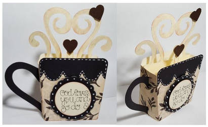 Coffee or Tea Cup Pop Up Card by UniqueDesignsbyMo by UniqueDesignByMonica
