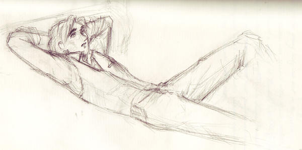 reclining young man by sauch