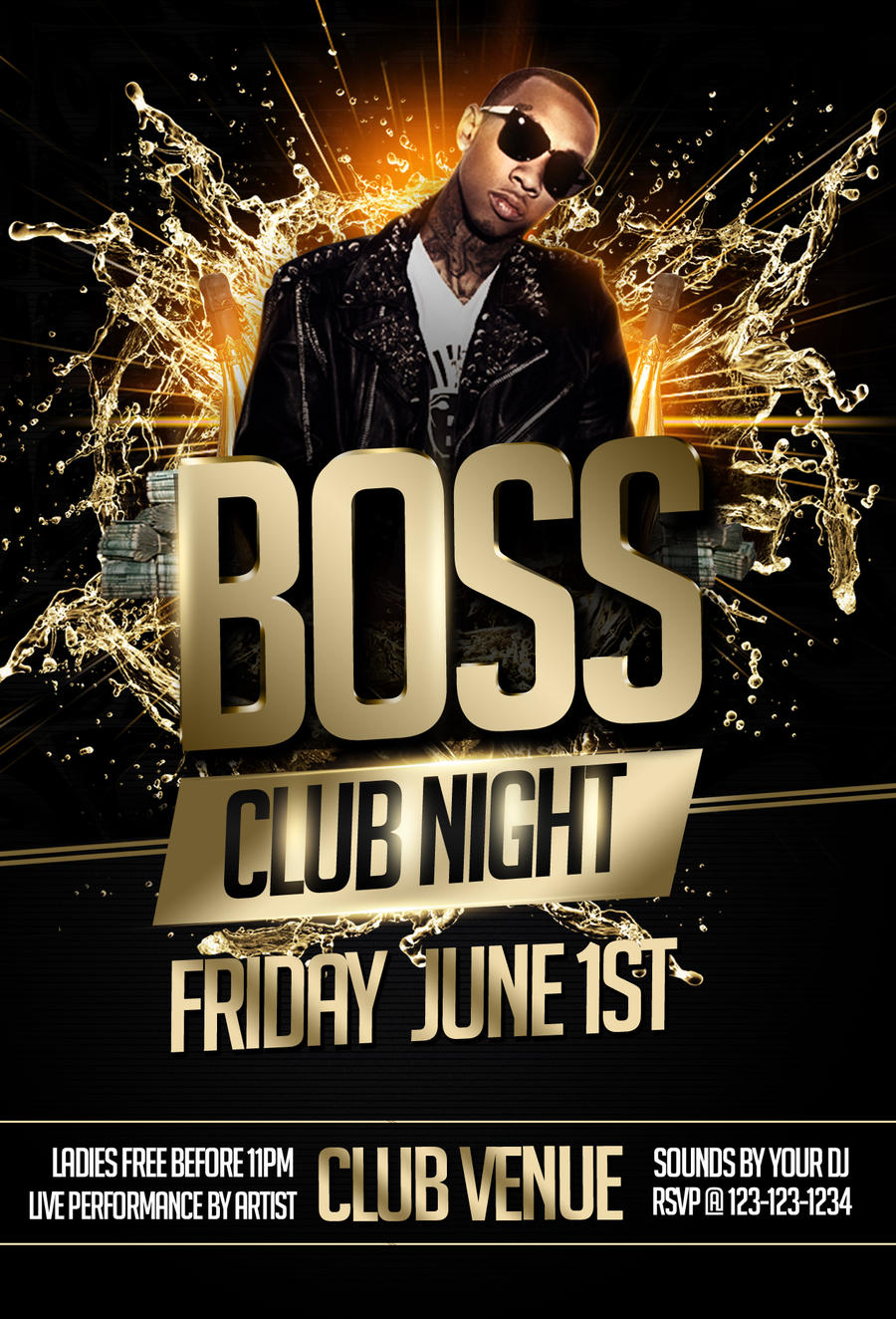 Boss Night Party Flyer Template-BLACK by ImperialFlyers on DeviantArt