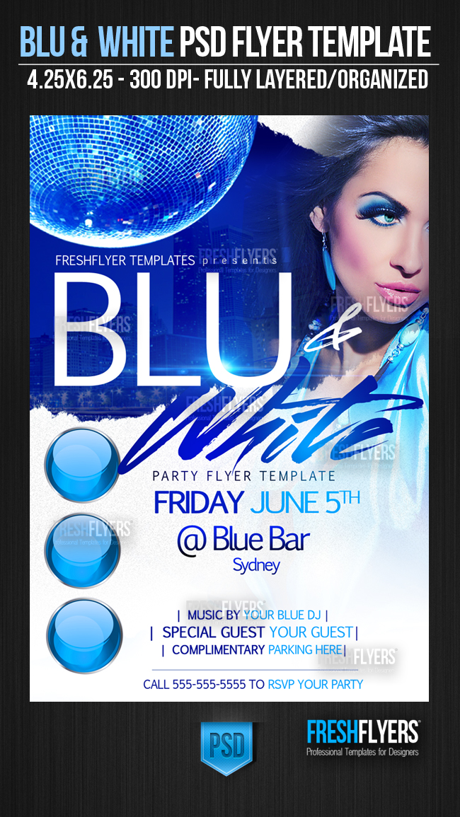 Blue And White Party Flyer Template By Imperialflyers On Deviantart