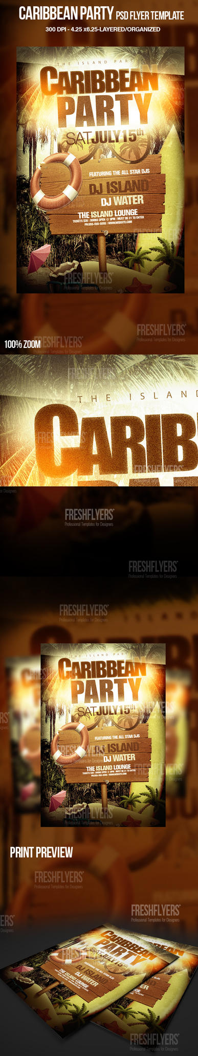 Caribbean Party Flyer Template by ImperialFlyers on DeviantArt