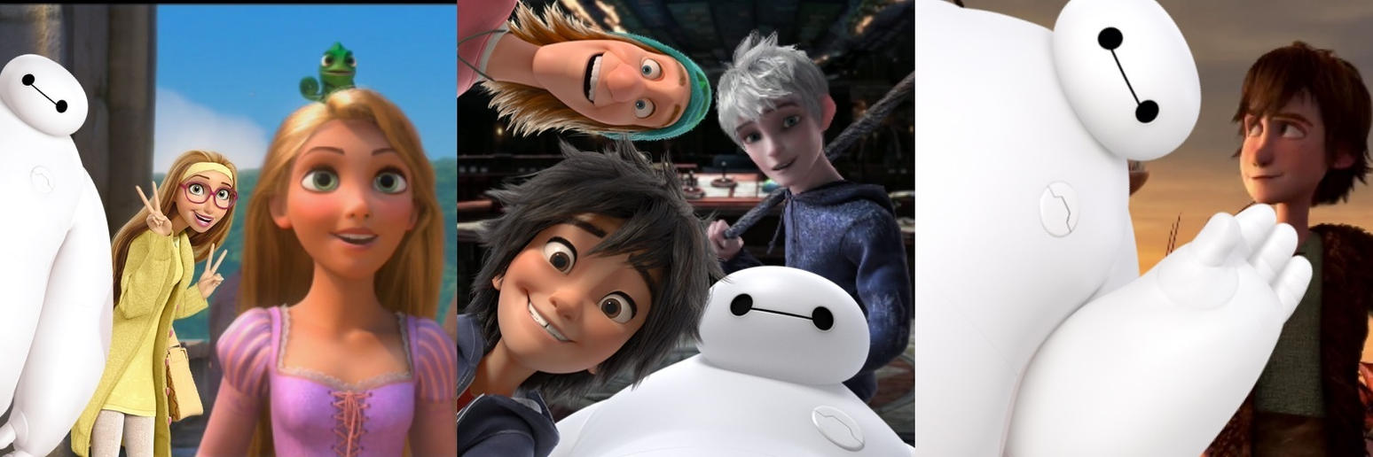 Baymax photobombs with Rapunzel, Jack, and Hiccup by MugenMusouka