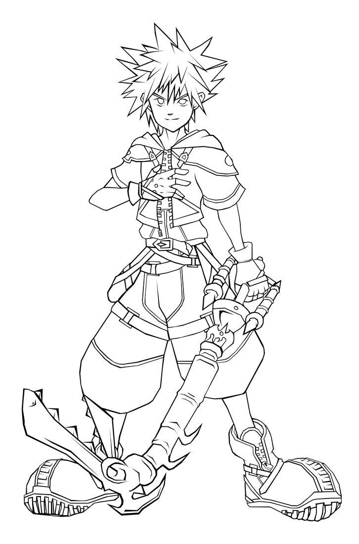 Sora Kingdom Hearts Lineart : Kh sora lineart by qukai on deviantart