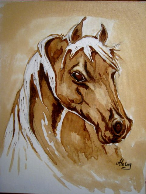 Arabian horse coffee painted by alahay on deviantart for Painting with coffee