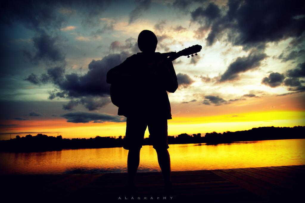 music at sunset lake by alahay