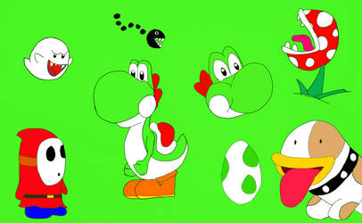 Yoshi drawings (Flat color) by PXY-ART