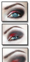 Red and black gothic makeup
