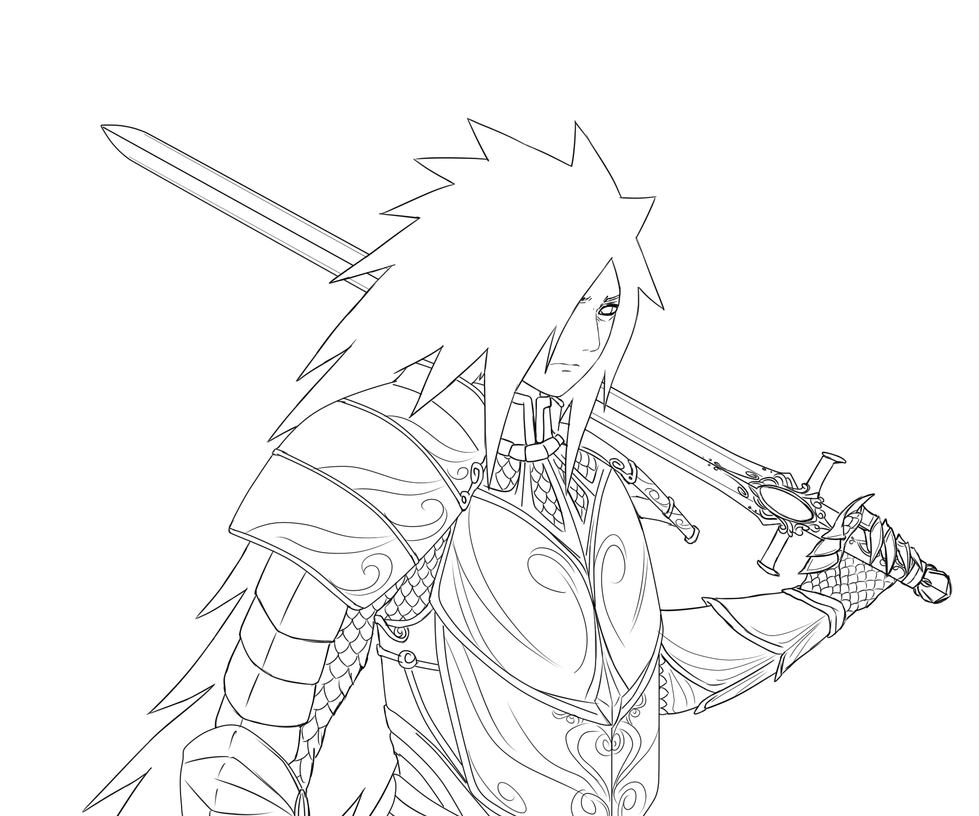 Line Drawing Knight : Medieval knight lineart madara by fireeaglespirit on