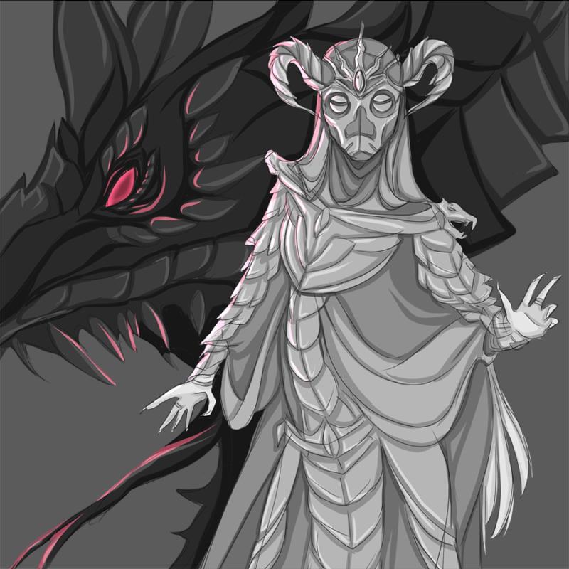 Skyrim OC: Alduin's priestess Yolmiin by FireEagleSpirit