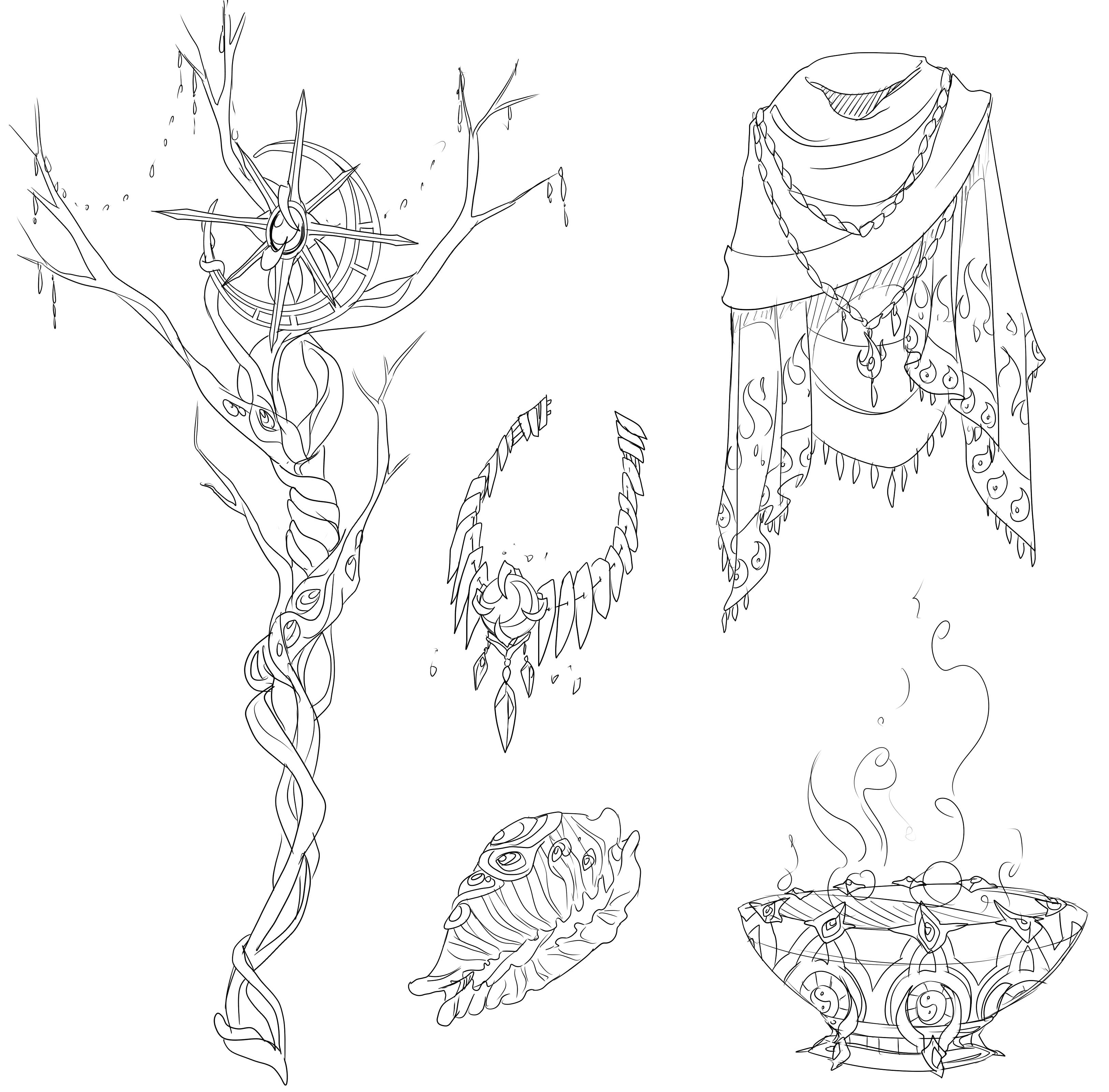 Kaguya's five items - concept art by FireEagleSpirit