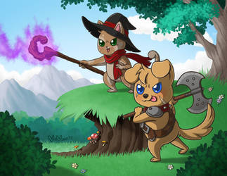 Jinxy and Duke Fight by Melonie-Moon