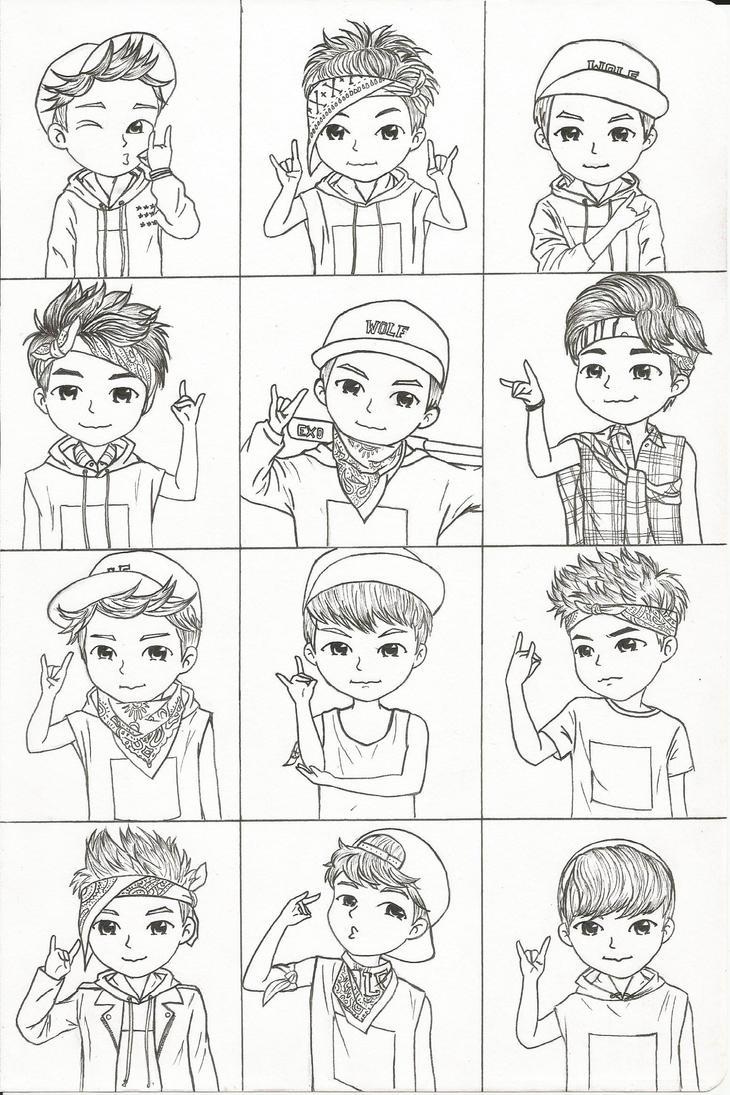 Exo Chibi Fan Art Sketch Coloring
