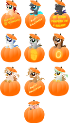 Halloween - Pumpkin Ponies (and a pig) by Java--Jive