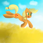 applejack jumping in the prairie! by MegaZDX