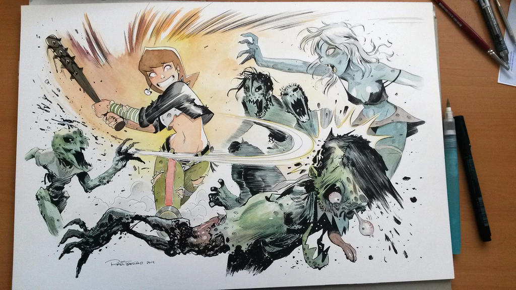 Milla beating Zombies by raultrevino