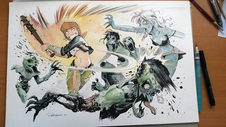 Milla beating Zombies