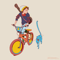 A BMX, a boy and his cat.