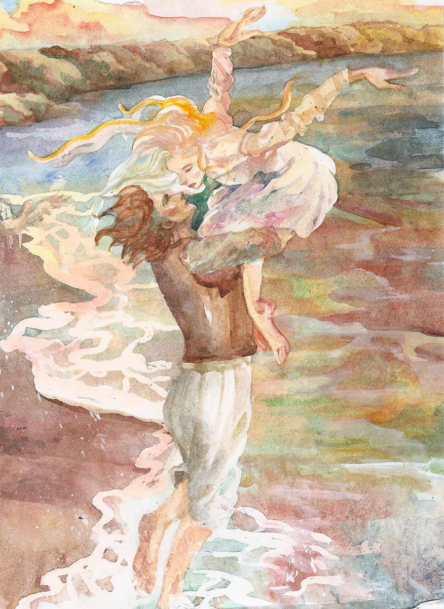 Earendil and Elwing in Eldamar by Mellaril