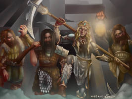 The Cave Hewers (Finrod with Dwarf Companions) by Mellaril