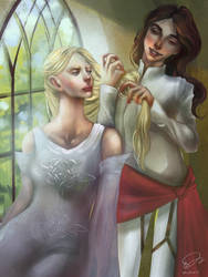 Galadriel and Aredhel by Mellaril